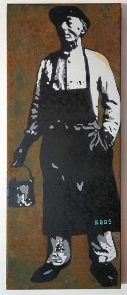 "Rude: ""Painter""  - stencil on a rusty metal board"