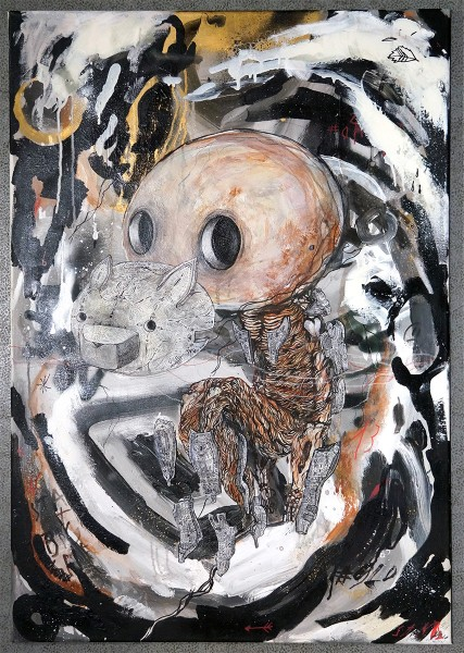 "Sam Crew: ""Mask""  - mixed media on wood - 69,5 x 100 x 1,5 cm  - Streetart Wonderland"