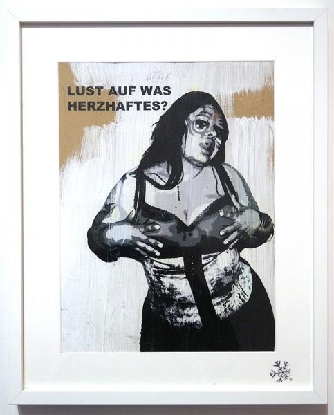 """FLOCKE//ART: """"Lust Auf Was Herzhaftes"""" - Mixed Media on wood"""