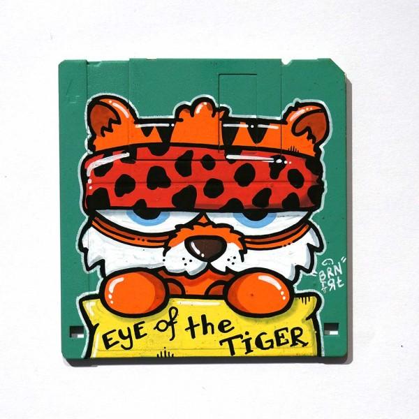 "Brainfart: ""Floppyfart Eye Of The Tiger""  - mixed media on diskette - SALZIG Berlin"