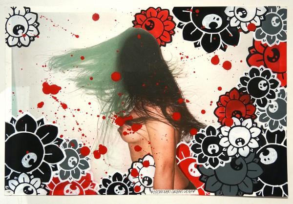 "Bujangan Urban: ""Flowergirl - WR"" - signed, 2018 - mixed media on paper - 48,5 x 37,5 cm"