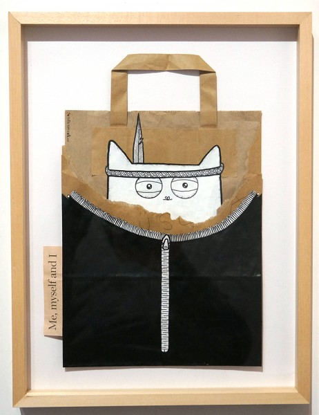 """Rabea Senftenberg: """" Me, Myself And I""""  - Marker and fun on paper bag, a piece of Berlin - stamped and signed by the artist"""