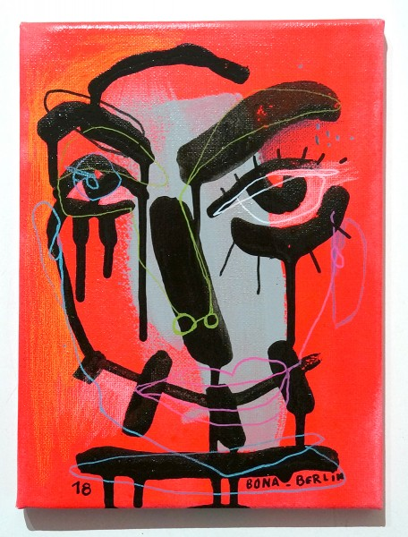 Bona Berlin: Face - Red - mixed media on canvas