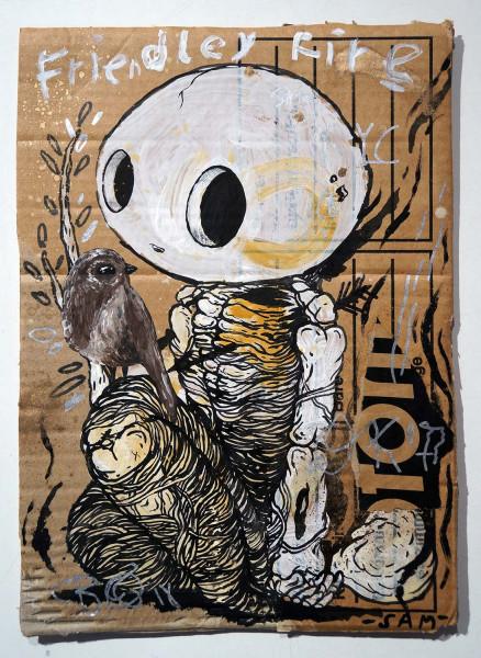 "Sam Crew aka John Reaktor: ""Friendley Fire"" - original cardboard - salzigberlin - streetart"