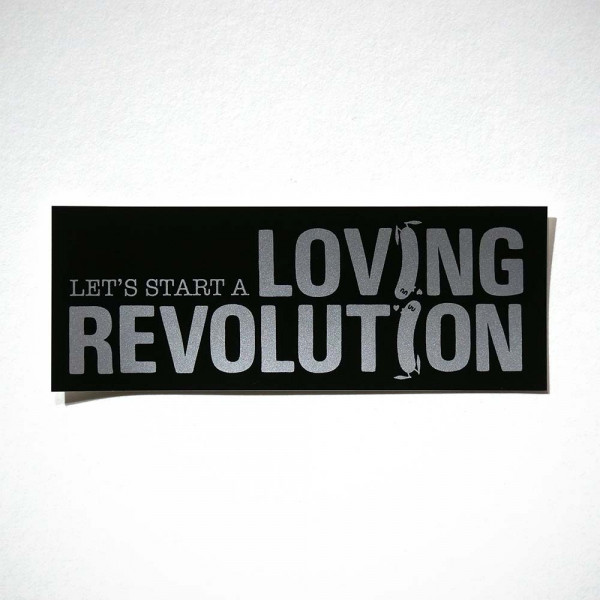 "Dave the Chimp: ""Let's Start A Loving Revolution - Silver"" - Sticker - salzigberlin"