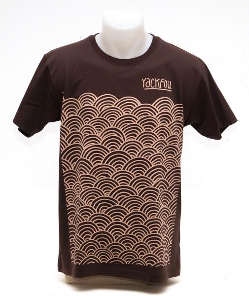 Yackfou: Circle Pattern T-Shirt auf Braun - SALZIGBERLIN