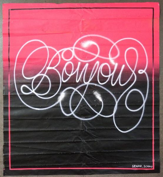 """Señor Schnu: """"Bonjour Quick Tag""""  - Streetart gallery berlin SALZIG Friedrichshain"""