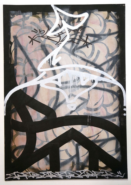 "Zoer64: ""B"" - Original on Cardboard - Streetart SALZIG Berlin"