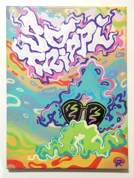 """ROLF LE ROLFE: """"So Trippy""""  - mixed media on canvas"""