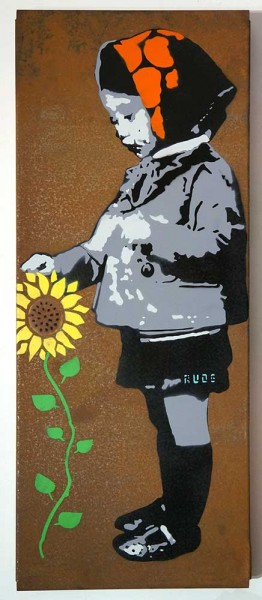 "Rude: ""Flowergirl""  - stencil on a rusty metal board at SALZIG Berlin"