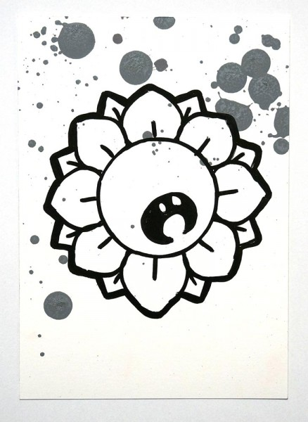 "Bujangan Urban: ""Flower - Grey III"" - Original Postcard - signed, 2018"