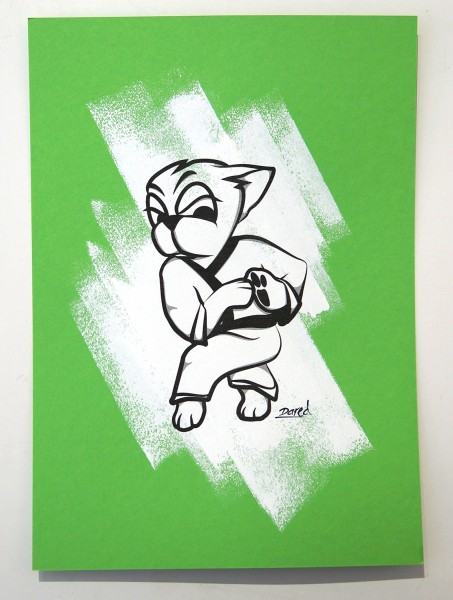 "Dared: ""Martial Art III""  - mixed media on green paper - available at SALZIG Berlin"