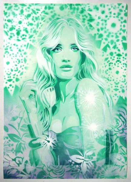 """Mariestyle: """"Soft Green Rosie"""" - spraypaint stencil on paper - SALZIG Berlin"""