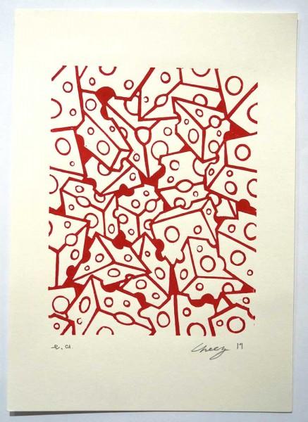 "Cheez : ""Viele Käse - Rot""  - 21 x 29,5 cm - linoleum print on paper, at SALZIG"