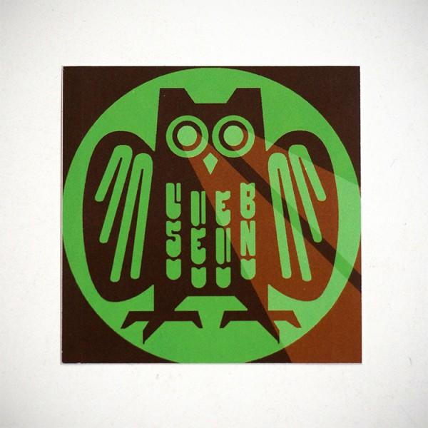 """LIEB SEIN: """"Green Owl - Sticker"""""""
