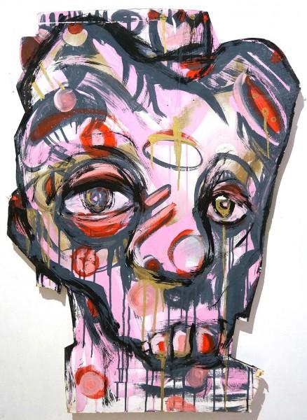 """So4Melone: """"Pink Skull"""" - salzig berlin - Mixed Media on Paper"""
