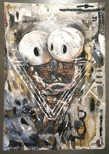 "Sam Crew aka John Reaktor: ""Love""  - mixed media on canvas material"
