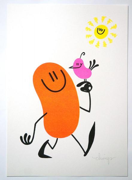 "Dave the Chimp: ""Go Outside"" - 4 colour risograph print - SALZIG berlin"