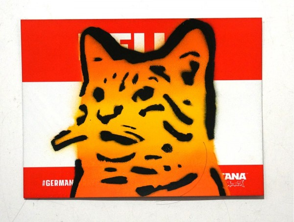 """Lembo: """"Yellow Cat - Montana Sticker"""" - Stencil on a sticker from Montana Cans"""