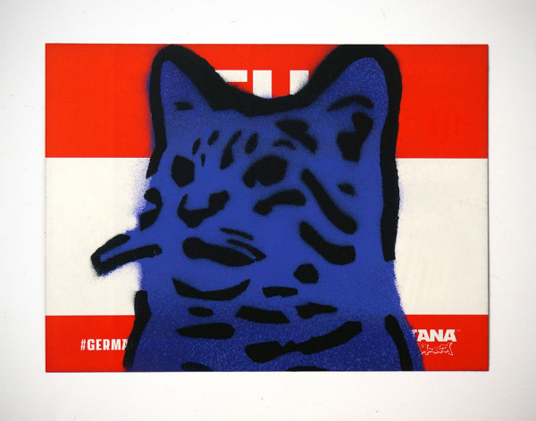 """Lembo: """"Blue Cat - Montana Sticker"""" - Stencil on a sticker from Montana Cans"""