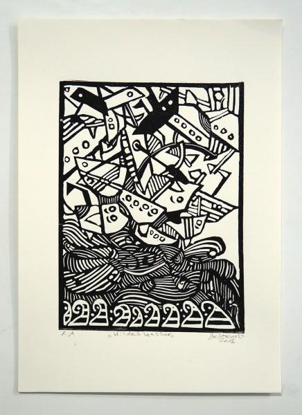 """Deelorean: """"Wildes Wasser"""" - Linoleum Print, 2018"""