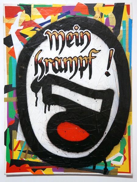"""Mein lieber Prost: """"Mein Krampf"""" - mixed media on canvas"""