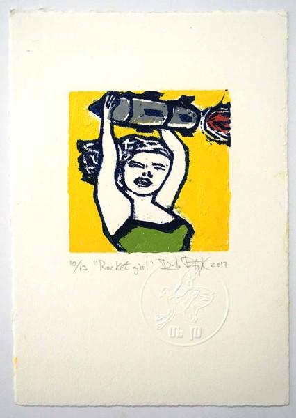"""Prizmu: """"Rocket Girl""""  - Holzdruck auf Papier - SALZIG Berlin Gallery"""