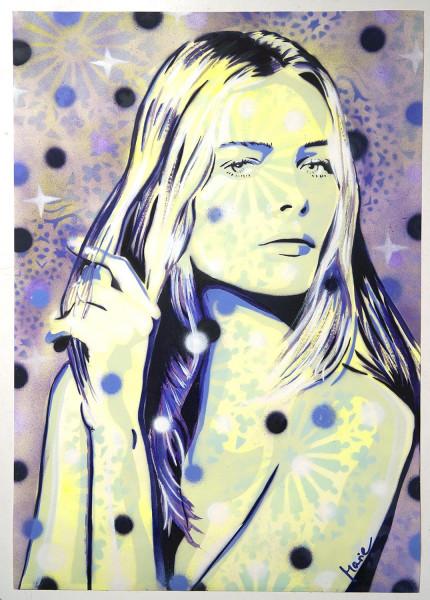 "Mariestyle: ""Starry Edita"" - spraypaint stencil on paper - SALZIGBerlin"