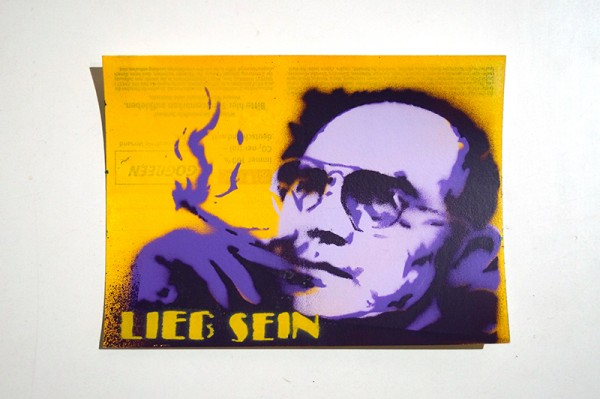 "LIEB SEIN: ""Smoker"" Original Stencil on DHL Paket Sticker"