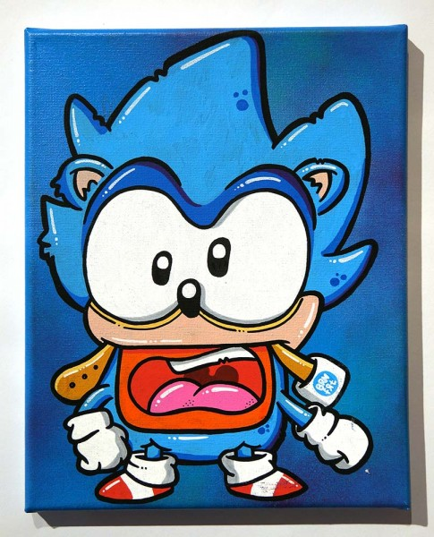 "Brainfart: ""Sonic Cosplay"" - mixed media on Canvas - SALZIGberlin"