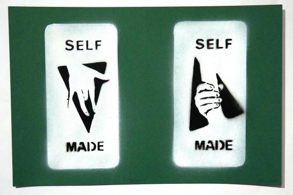 "Ostap: ""Selfmade - 2 in 1 - Dark Green"" - Handmade Stencil - SALZIG Berlin"