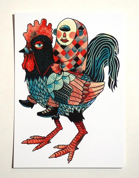 "Yackfou: ""Cockrider"" - Postkarte A6"