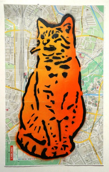 "Lembo: ""Orange Cat on map""  - Stencil - SALZIG Berlin Streetart Gallery"
