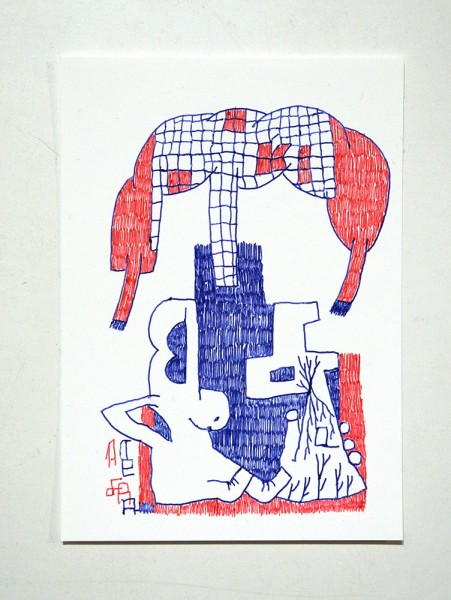 "Tefra90: ""Drawing 1"" Original Postcard - Red Blue Series"