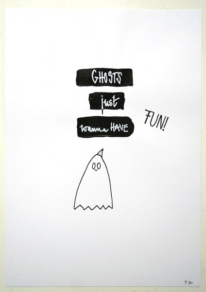 "Rabea Senftenberg: ""Ghosts just wanna have fun!""  - Marker and fun on paper, a piece of Berlin"