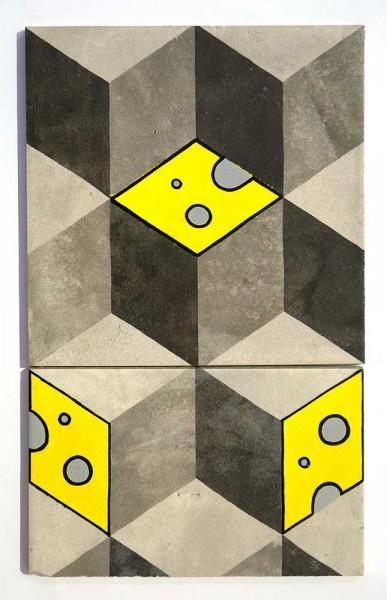 "Cheez : ""Käse Kacheln""  - 33 x 20 x 1 cm - Original on two tiles at SALZIG Berlin"