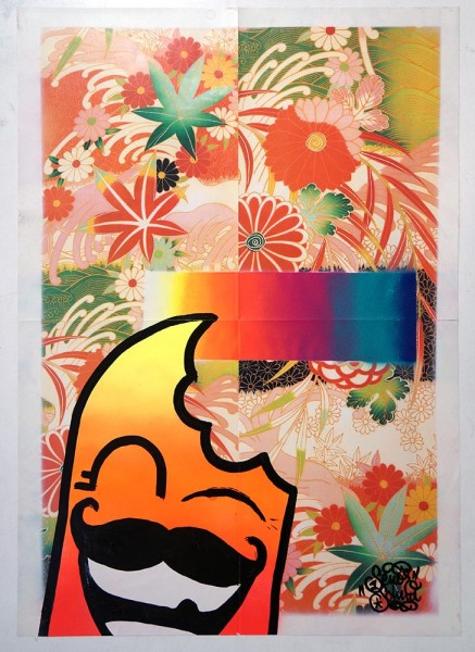 """Señor Schnu: """"Floral Poster 3"""" - acryl on chinese paper - at SALZIG Berlin"""