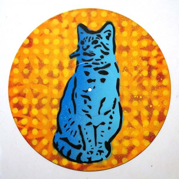 "Lembo: ""Blue Cat on Vinyl""  - Stencil on a record - salzig berlin"