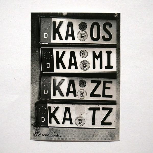 "MaraCooya: ""Kaos Kami Kaze Katz""  - Sticker - 5 x 7,2 cm - SALZIGberlin"