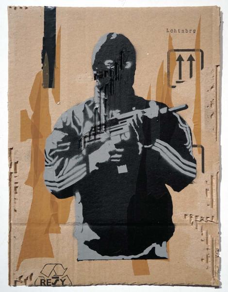 """Lchtn Brg: """"RAF II - Up"""" - 2 layer Stencil on cardboard - salzigberlin"""