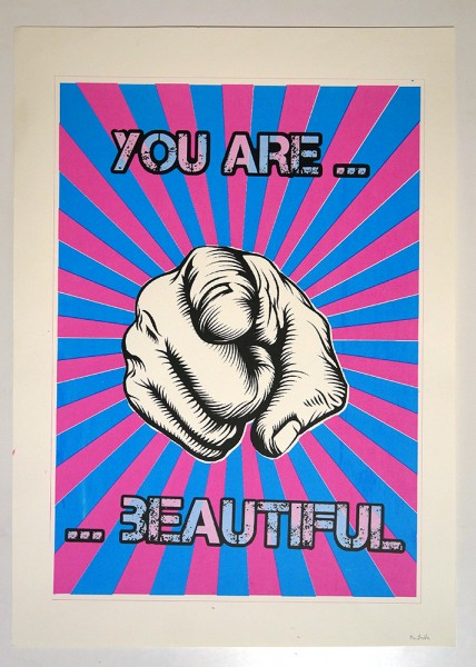 "Mr. Sasa: ""You Are... Beautiful"" - Pink/Blau"