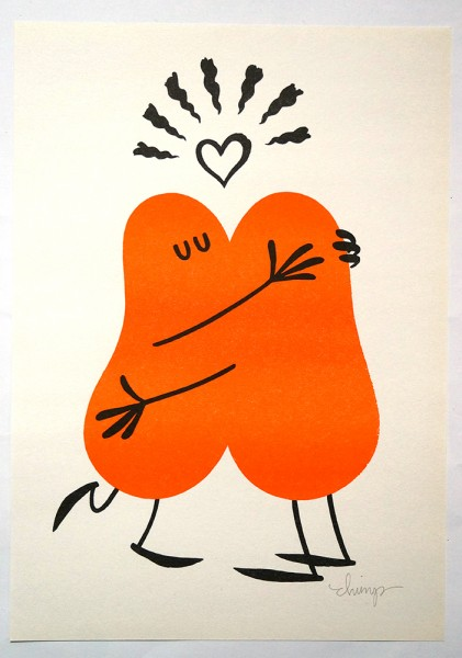 "Dave the Chimp: ""Hug"" - 2 Colour Risograph Print"