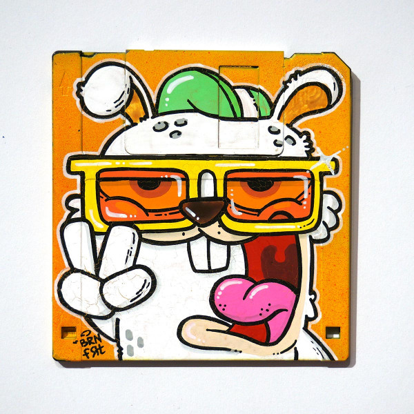 "Brainfart: ""Floppyfart Bunny"" - mixed media on diskette - SALZIG Berlin"