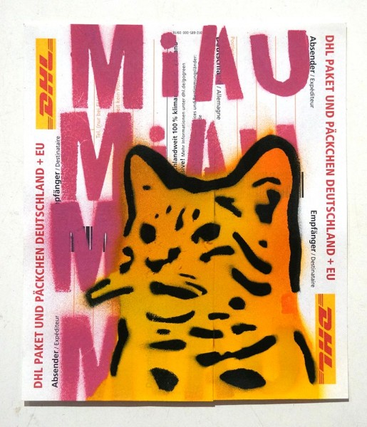 "Lembo: ""MiAu - Pink - DHL Sticker"" - Stencil on a sticker from DHL"