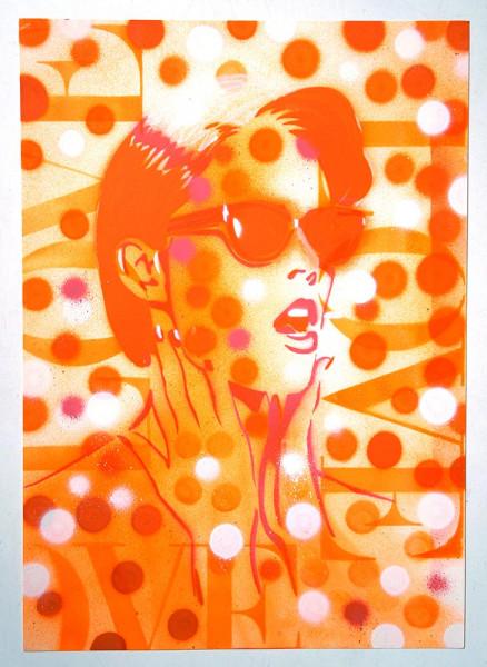 "Mariestyle: ""Love - Sunglasses Coco"" - spraypaint stencil on paper - SALZIG Berlin"