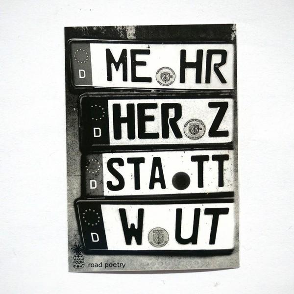 "MaraCooya: ""Mehr Herz Statt Wut""  - Sticker - 5 x 7,2 cm - SALZIGberlin"