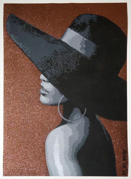 "Liz_Art_Berlin: ""Lady with Hat"" - Original Stencil"