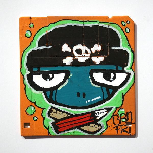 "Brainfart: ""Floppyfart Pirat"" - mixed media on diskette - SALZIG Berlin"