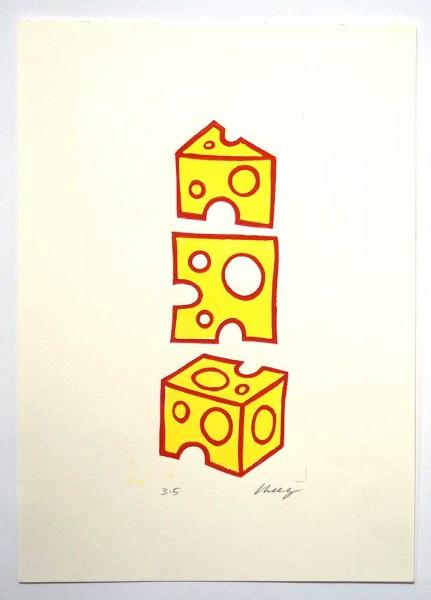 """Cheez : """"Drei Käse Hoch""""  - 21 x 29,5 cm - 3/5 limited edition  -at SALZIG"""