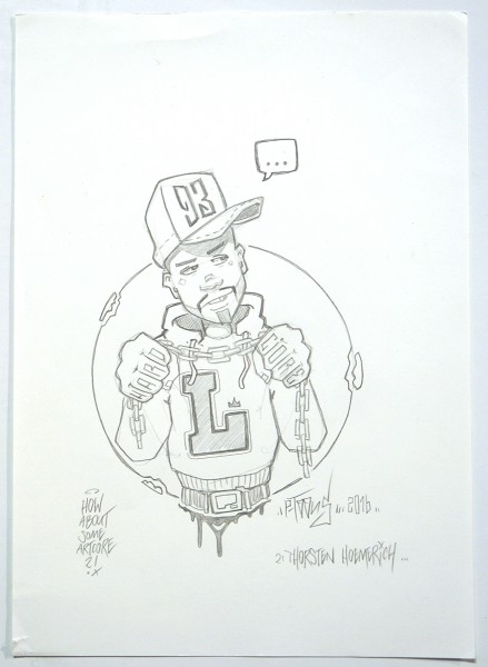 """p-toons: """"L93"""" - pencil drawing on paper, signed, 2016"""